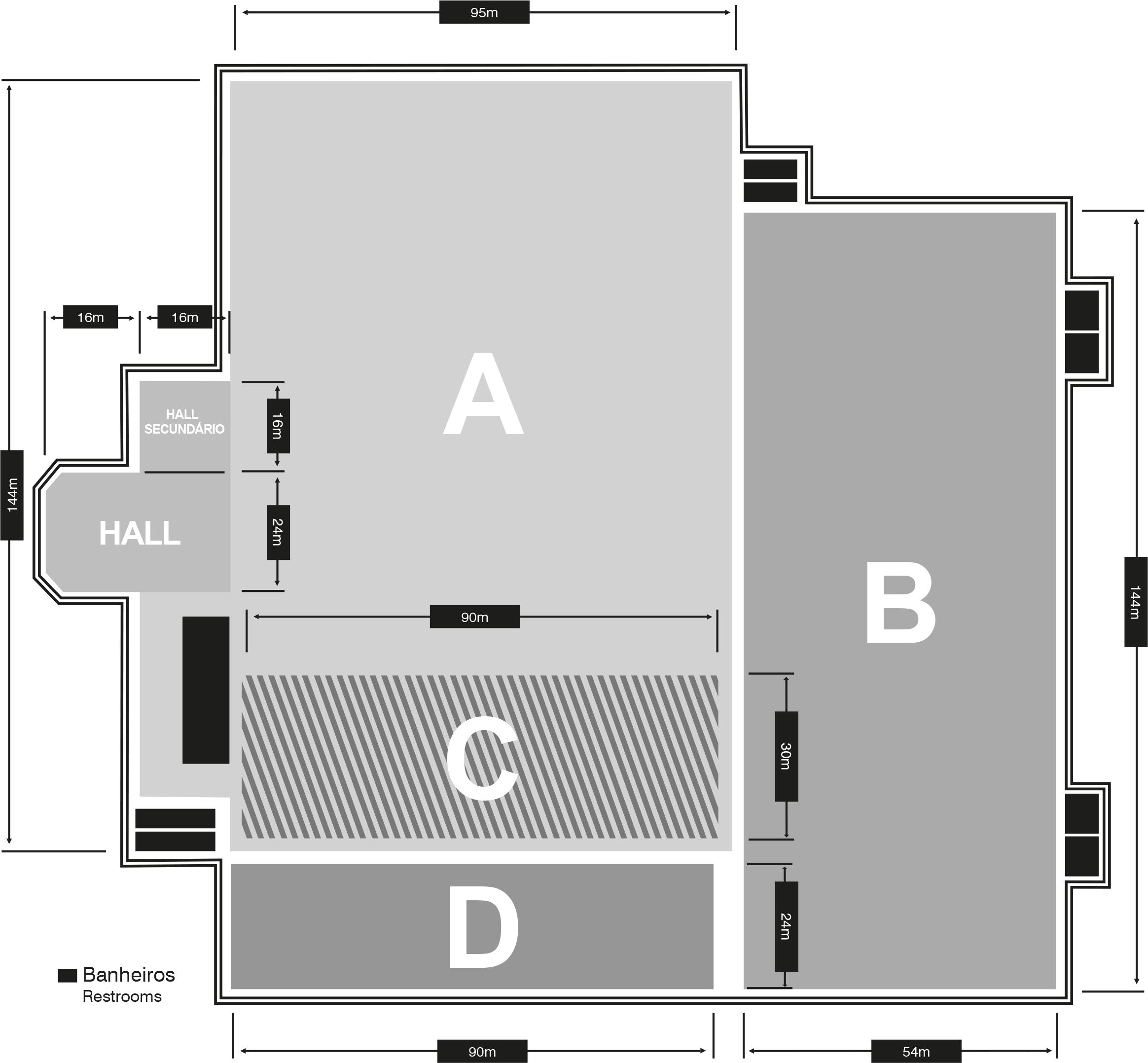 Planta Pavilhões A, B, C e D